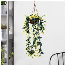 Loxiaa Artificial Yellow Hanging flower Beautiful Arrangement Without pot