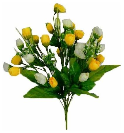 Loxiaa Artificial White Yellow Rose Bunch  30cm