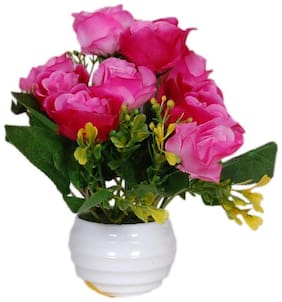 Loxiaa Pink Rose Artificial flower with pot (18 Cm)