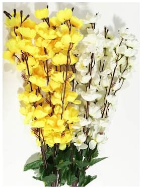 Loxiaa Yellow, White Orchids Artificial Flower  (35.5 inch, Pack of 1)