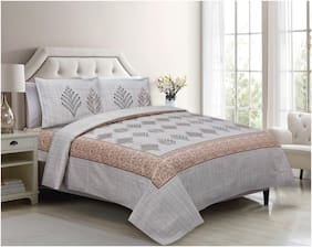 Lsk Shiva's Cotton Printed King Size Bedsheet 210 TC ( 1 Bedsheet With 2 Pillow Covers , White )