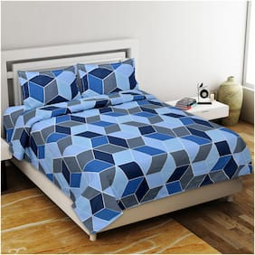 Lsk Shiva's Cotton Printed King Size Bedsheet 210 TC ( 1 Bedsheet With 2 Pillow Covers , Blue )