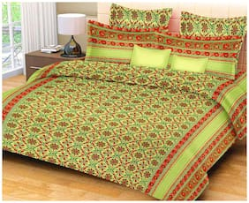 Lsk Shiva's Cotton Printed King Size Bedsheet 210 TC ( 1 Bedsheet With 2 Pillow Covers , Green )