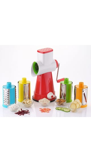 Lucky Box    4 in 1 Drum Grater Shredder Slicer For Vegetable, Fruits, Chocolate, Dry Fruits, Salad Maker With 4 Different Attractive Drums