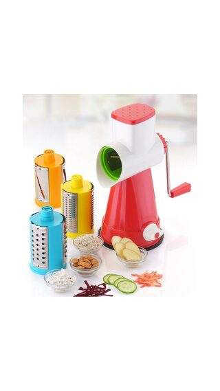 Lucky Box  Kitchenware 4 in 1 Drum Grater Shredder Slicer For Vegetable, Fruits, Chocolate, Dry Fruits, Salad Maker With 4 Different Attractive Drums