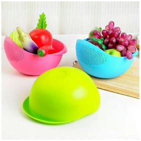 Lucky Box (Set of 3 pcs) Rice,Pulses,Fruits,Vegetables, Noodles,Pasta Washing Bowl & Strainer Good Quality & Perfect Size for Storing and Straining,Multicolor