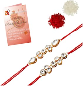 Lucky Jewellery Fancy Rakhi Gold Plated Red Thread For Brother Rakshabandan Rakhe For Boys And Men