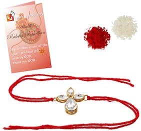 Lucky Jewellery Fancy Rakhi Gold Plated Red Thread For Brother Rakshabandan Rakhe For Boys And Men