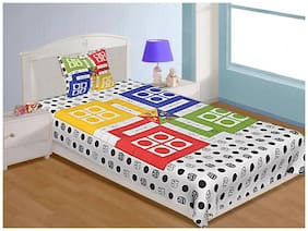 Ludo Print Cotton Single Bedsheet with ONE DICE and 16 GOTI (60*90 inches) 100% Cotton by Laying Style