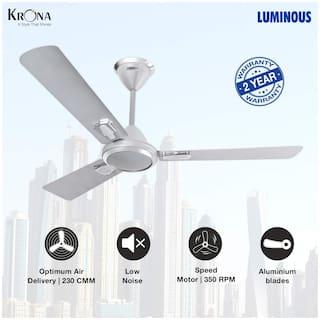 Luminous Krona 1200 mm Standard Ceiling Fan ( Silver )