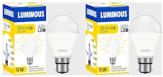 Luminous Shine Eco Base B22 7-W LED Bulbs (Pack of 2 Cool Day Light)