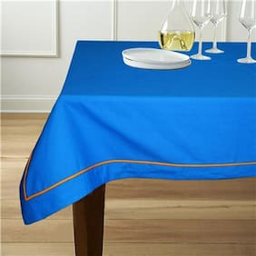 Lushomes 6 Seater Blue Table Cloth with Orange contrasting cord piping (Size: 60x90)
