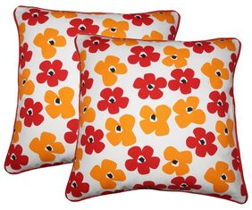Lushomes Basic Print Cotton Cushion Covers (Size 12 x 12) Pack of 2