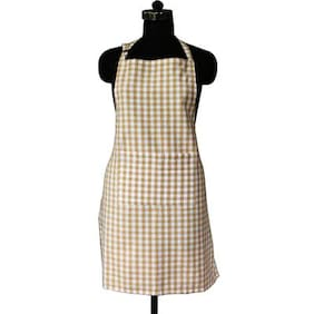 Lushomes Beige Gingham Checks Apron with Pocket and Adjustable Buckle