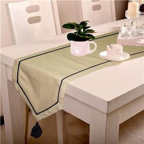 Lushomes Beige Table Runner with Black contrasting cord piping