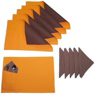 Lushomes Bi Color Sun Orange And French Roast Placemats And Napkins