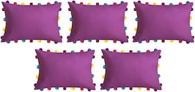 Lushomes Solid Cotton Purple Cushion Cover ( Large , Pack of 5 )