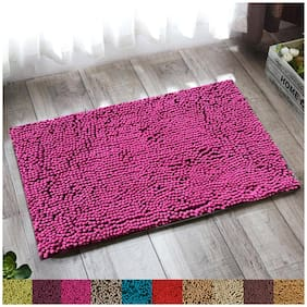 """Lushomes Chenille Rasberry Rose Thick and fluffy 2200 GSM bathmat with High Pile Microfiber with Synthetic backing, Super Absorbent (12""""x 18"""", 30 x 45 cms, Single Pc)"""