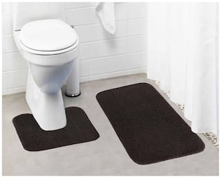 Lushomes Chocolate Brown Thick and fluffy 1800 GSM bathmat with High Pile Microfiber (Bathmat: 19x 30;Contour: 19x 18)