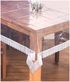 Lushomes Clear PVC table Cloth with thick attractive 3  lace (40 x 40 , Side Table Cloth)