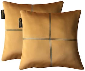 Lushomes Coffee Blackout Cushion Cover with Artistic Stitch