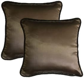Lushomes Solid Polyester Brown Cushion Cover ( Regular , Pack of 2 )