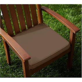 Lushomes Cotton French Roast Chair Pads with 4 Strings and Foam Filling -2 pcs