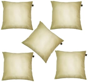 Lushomes Cream Dupion Silk Cushion Covers (Pack of 5)