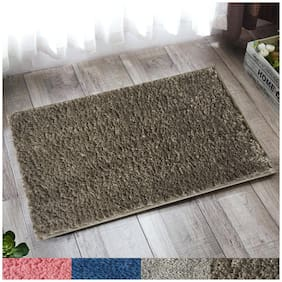 """Lushomes Dark Grey Thick and fluffy 1800 GSM bathmat with High Pile Microfiber with Synthetic backing, Super Absorbent (16""""x 24"""", 40 x 60 cms, Single Pc)"""
