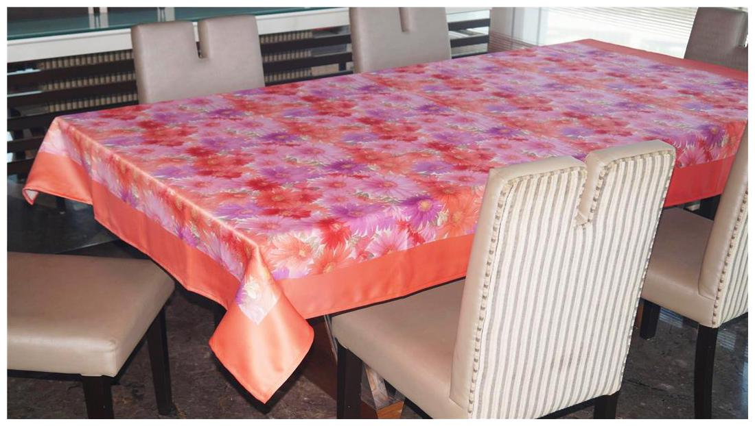 Lushomes Digital Printed Rust Themed Abstract Table Cover For 6 Seater by Happy Home Textile