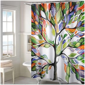 Lushomes Digital Multi tree Design Shower curtain with 12 eyelets and 12 hooks (Single pc, 71   x 78  , 180 x 200 cms)