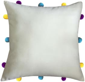 Lushomes Solid Cotton Cream Cushion Cover ( Small , Pack of 1 )