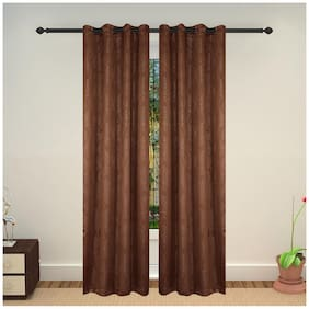 Lushomes Embossed Blackout Brown Curtain with 8 metal eyelets for Long Doors (Single pc pack)