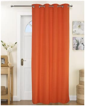 Lushomes Fabiana Rust Curtains with Coordinating Tie Back For Long Door (Single pc)
