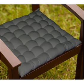 Lushomes Grey Comfy Cotton Chair Cushion with 36 knots And 4 tie backs