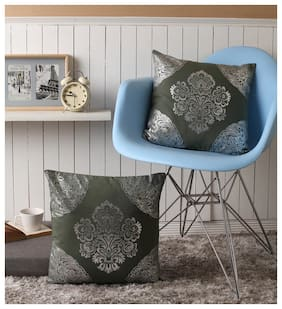 Lushomes Green Cushion Covers with Silver Foil Print (Pack of 2)