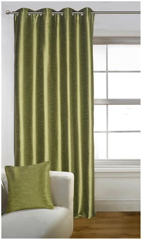 Lushomes Green Art Silk Door Curtain with Polyester Lining