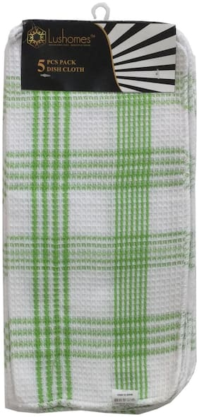 Lushomes Green Checked Dishcloths (Pack of 5)