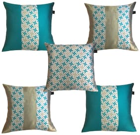 Lushomes Jacquard Pepper Green Design 2 Cushion Cover set for any celebration.(Pack of 5, 40 x 40 cms)