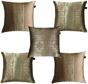 Lushomes Jacquard Choco Design 2 Cushion Cover set for any celebration.(Pack of 5, 40 x 40 cms)