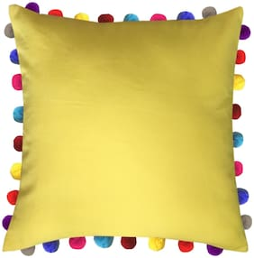 Lushomes Solid Cotton Yellow Cushion Cover ( Extra large , Pack of 1 )