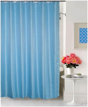 Lushomes Light Blue Premium Dyed Modern Wave Shower curtain With 12 Plastic Eyelets and 12 C Rings ( 71 x 78 , Single PC)