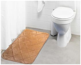 Lushomes Light Brown Cotton Regular Ulra Soft Memory Foam Bathmat
