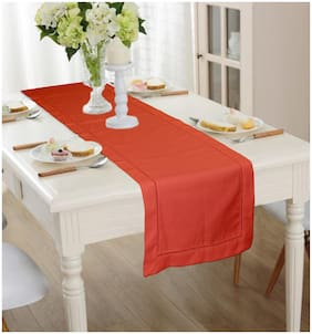 Lushomes Light Red Premium Cotton Table Runner with Ladder Lace (Size 40 x 180 cms, Single Pc)