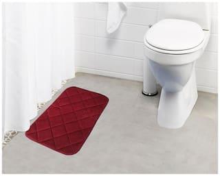 Lushomes Maroon Super soft memory foam bathmat ( Bathmat Size 12x 20;Single pc)