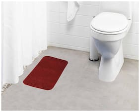 Lushomes Maroon Thick and fluffy 1800 GSM bathmat with High Pile Microfiber (12x 18;Single Pc)