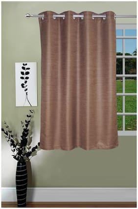 Lushomes Matka Silk Brown Curtain for Window (Single pc)