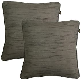 Lushomes Plain Polyester Grey Cushion Cover ( Small , Pack of 2 )