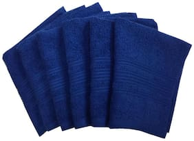 Lushomes 450 GSM Cotton Face Towel ( 6 Pieces , Blue )