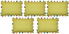 Lushomes Solid Cotton Green Cushion Cover ( Large , Pack of 5 )